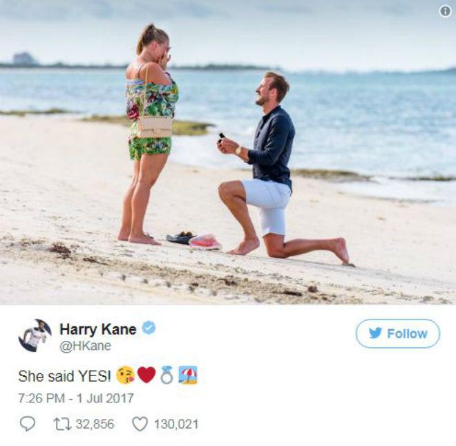 Harry Kane cùng kiều nữ cầu hôn bên bờ biển